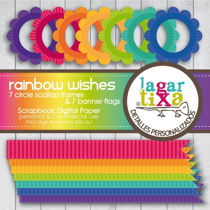 Frames Circle Scallop and Ribbons Flags Banner Rainbow Clip art red purple blue green yellow teal pink