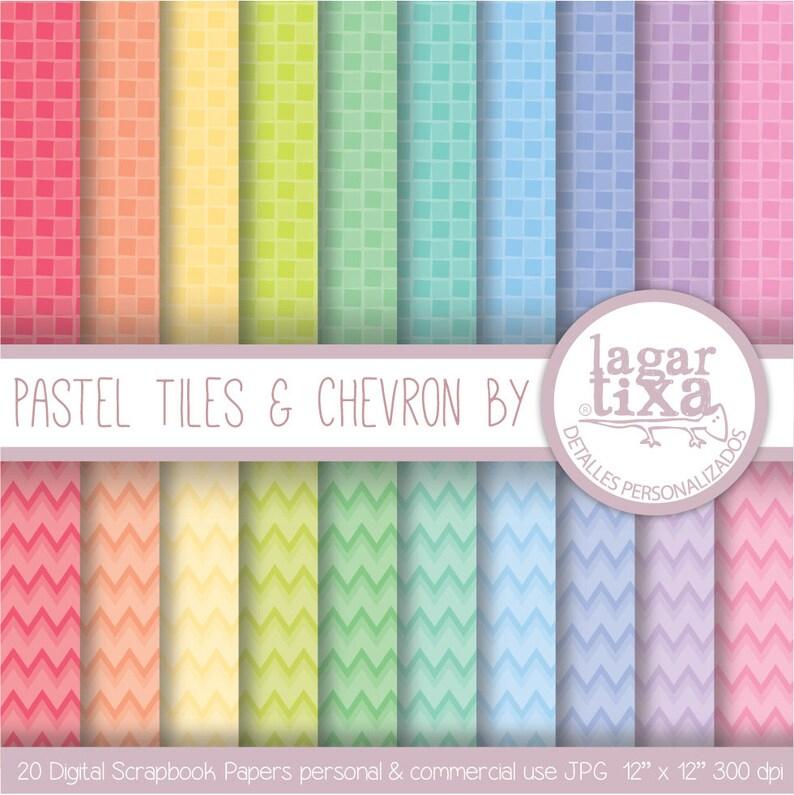 Digital Paper Pastel Pool Tiles & Chevron Background Patterns image 0