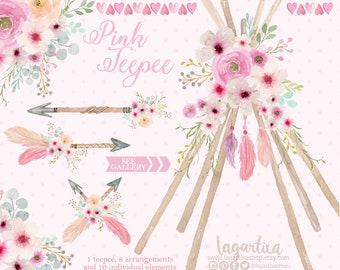 Teepee, Tipi and floral Watercolor Floral Boho Event clipart, PNG, Glamping Birthday, Sleepover Theme, Camping Slumber Glam Camping Party