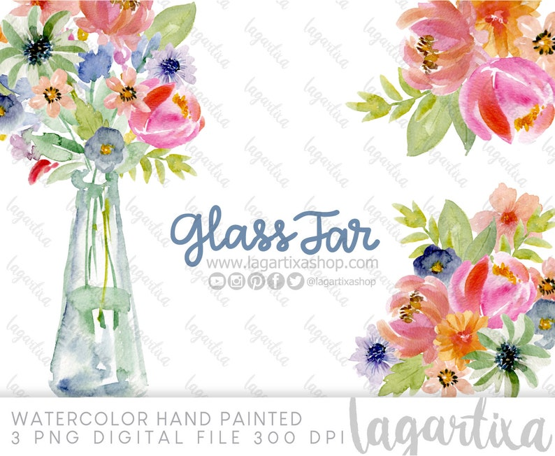 Flowers in a Jar Watercolor Clipart PNG Art Design Mexican image 0
