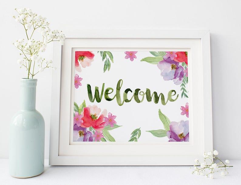 Welcome Bienvenidos Frases Para La Casa Decoracion Cuadros Etsy