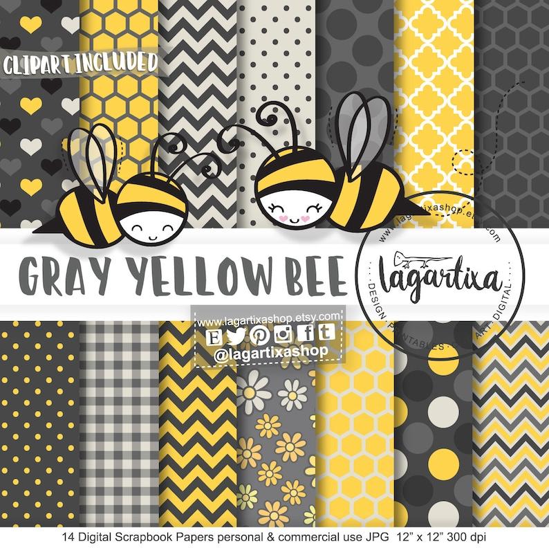 Bumble Bee Digital Paper clip art Yellow black white image 0