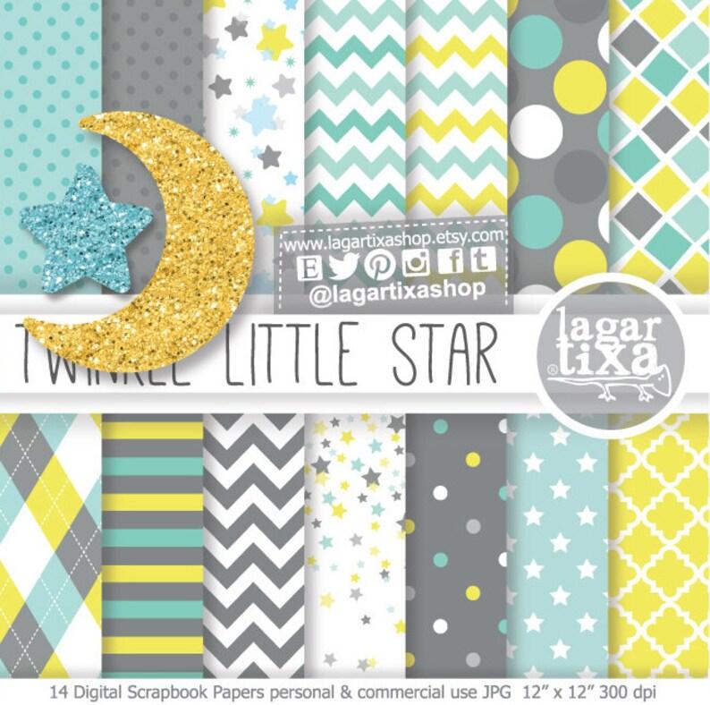 Little Star Baby Shower Theme Digital Paper Glitter Moon Etsy