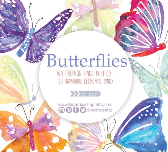 Watercolor Butterflies Clipart Butterfly Png Wedding Etsy