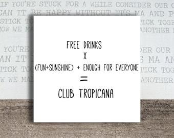 Wham - Club Tropicana Maths Greeting Card