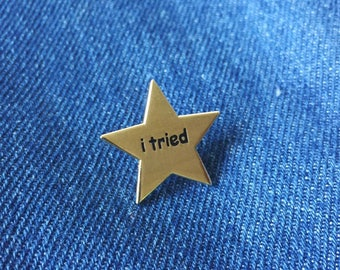 I tried Gold Star Funny Meme Shiny Gold Hard Enamel Pin (Funny enamel pin, Gold star, Star enamel pin)
