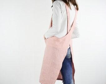 Pinafore linen apron. Linen apron. Pinafore soft linen apron. Natural linen cross back apron with pockets. Unisex cross back apron.