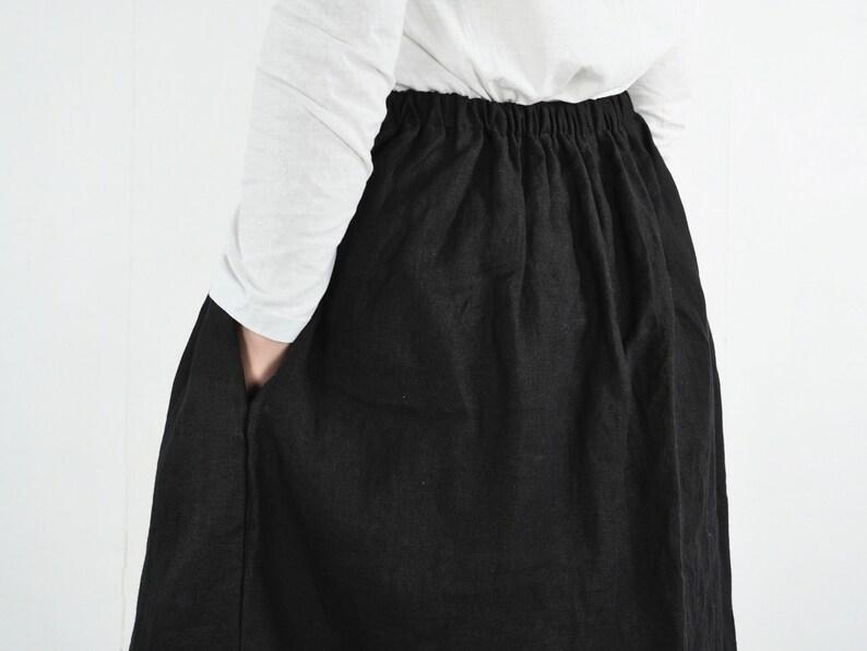 Aline linen skirt Washed linen skirt Linen skirt for women Natural flowy skirt. Linen skirt with pockets Soft midi linen skirt