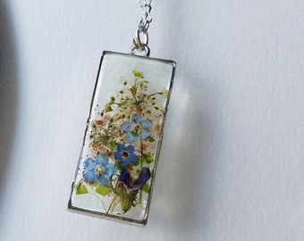 """Forget me nots in clear resin on 30"""" antiqued silver tone chain w 3"""" extender"""