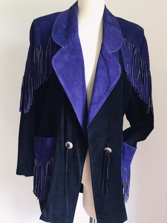 Fringed suede blazer jacket