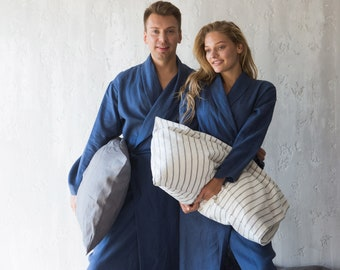 Men's Robe, Robe for Men, Linen Robe, Women's Robe, Linen Dressing Gown, Bathrobe for Men, Gift for Couple, Housewarming Gift, Eco Friendly