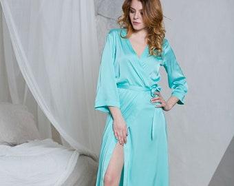 06876c0ecc Long Robe, Long Bridesmaid Robes, Satin Robes, Robes for Bridesmaids, Long  Wedding Robes, Long Bridal Robe, Long Dressing Gown, Mint Robes