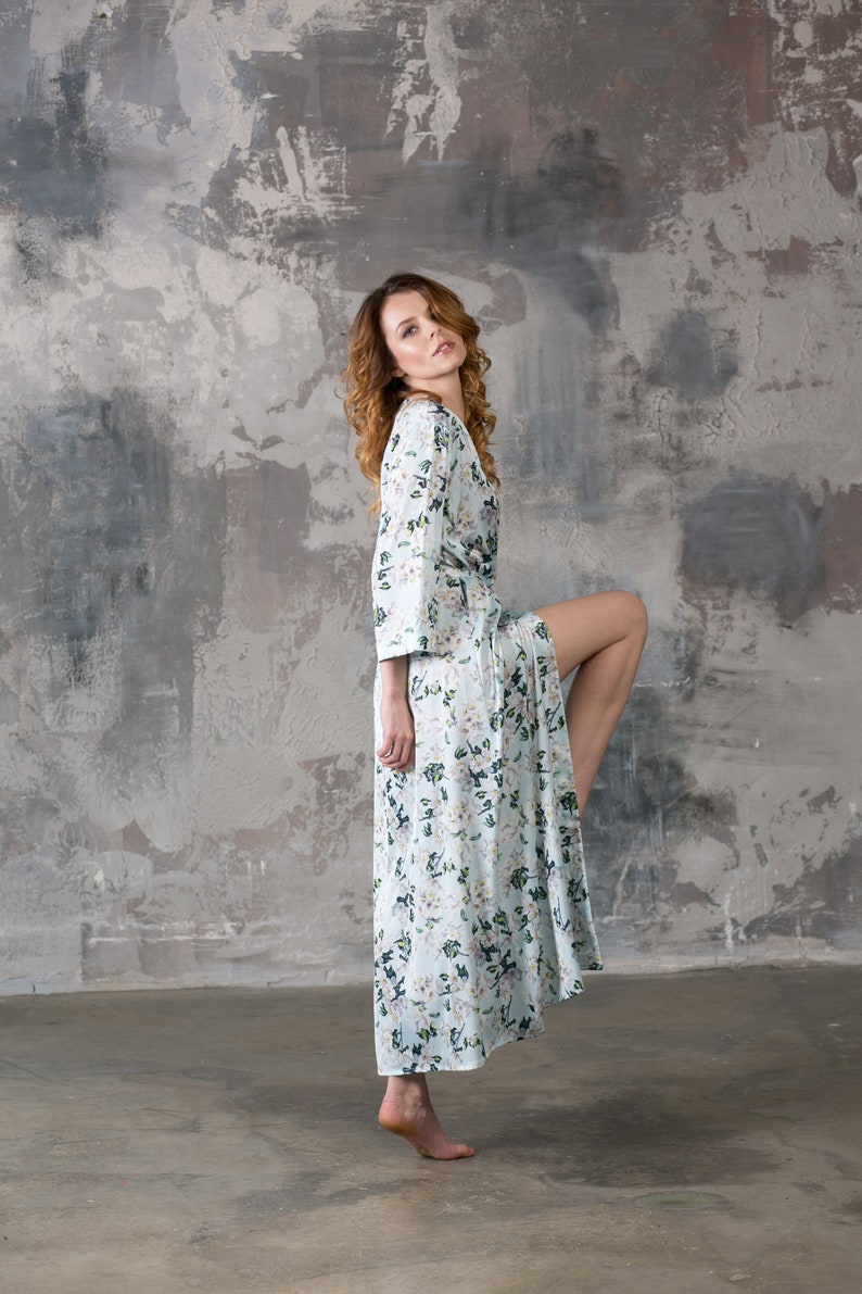 0f1524c685 Long Robe Floral Robes Short Robe Long Kimono Satin | Etsy