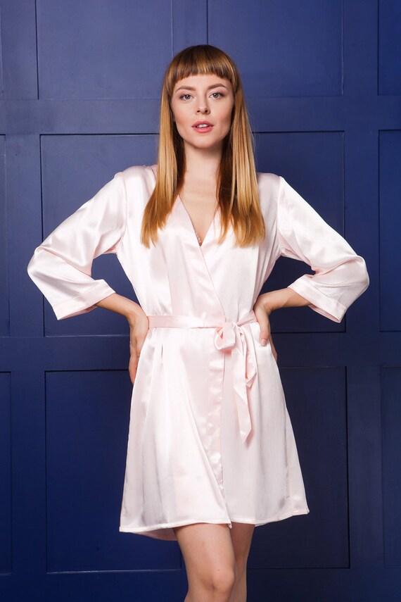 Peach Satin Robes/ Bridesmaid & Brides Dressing Gown/ Blush | Etsy