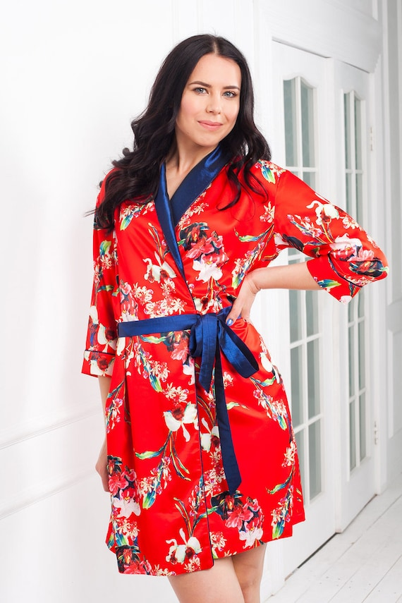 Red Satin Robe Floral Satin Dressing Gown Kimono Dressing   Etsy