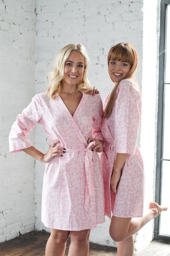 Baumwolle-Roben rosa Bademantel Baumwolle Kimono Floral