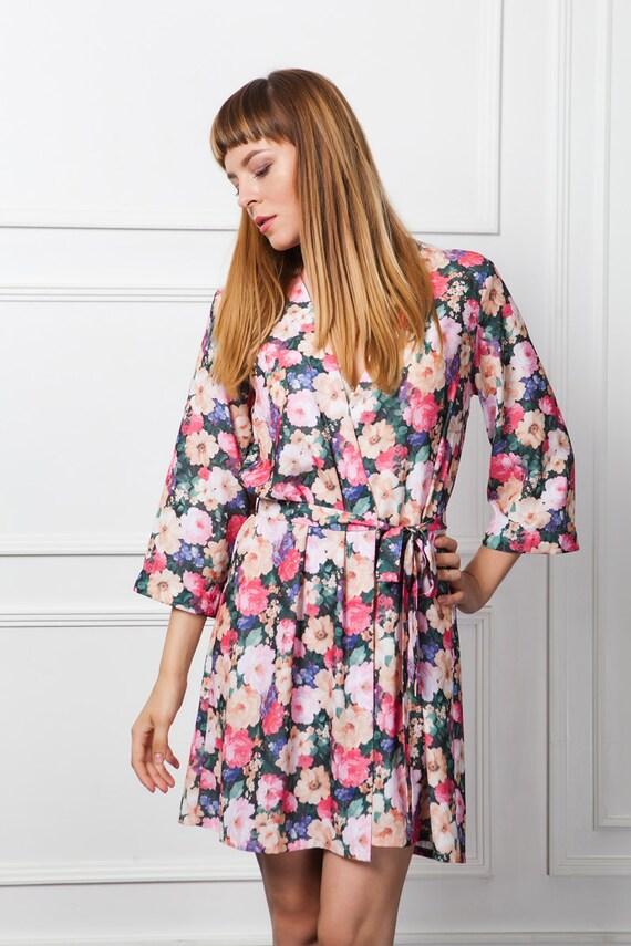 Floral Bademantel Floral Gewand Kimono-Bademantel kurzen | Etsy