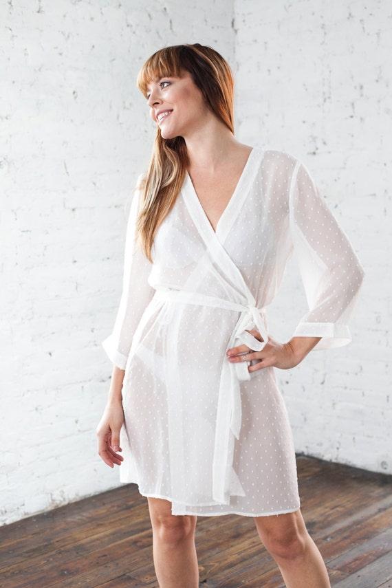 Sheer Ivory Robe/ White Bridesmaid & Brides Kimono Dressing   Etsy