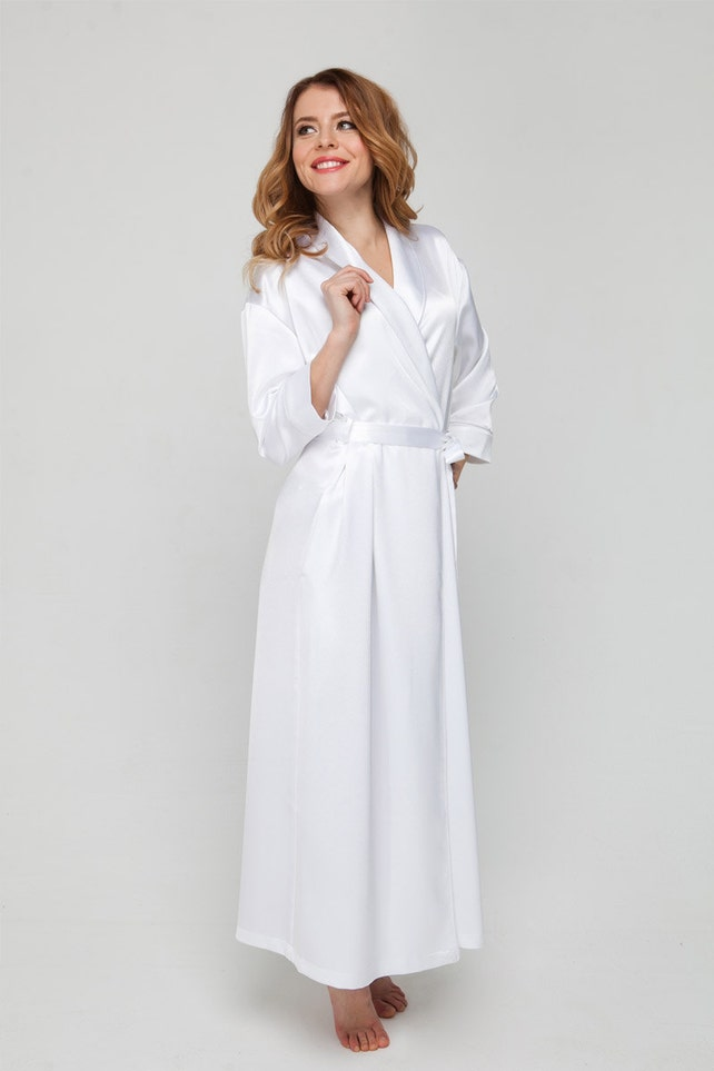 Long White Dressing Gown/ White Satin Robe/ Brides Wedding | Etsy