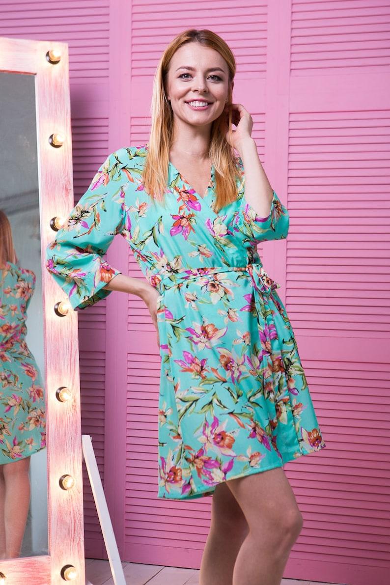 Turquoise Floral Robe Aqua Satin Robe Kimono Dressing Gown  39409de03