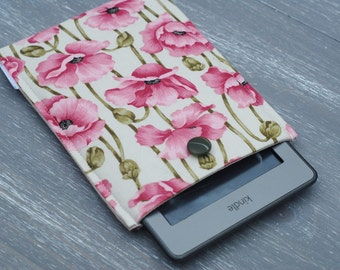 iPad Mini Cover, Kindle Fire Cover, Floral Kindle Touch Case,  Kindle Paperwhite Cover, Kindle Fire Padded Sleeve, Poppy Print Kindle Button
