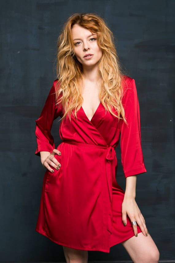 Red Robe Red Dressing Gown Red Satin Robe Red Bridesmaid   Etsy