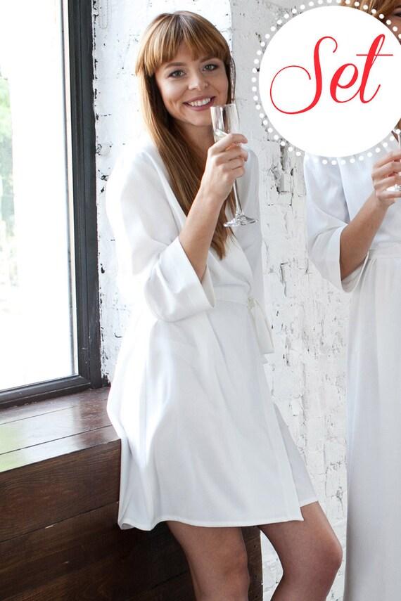 f07b8e73de7 Ivory Satin Bridesmaid Robes SET OF 3 4 5 6 9 Wedding