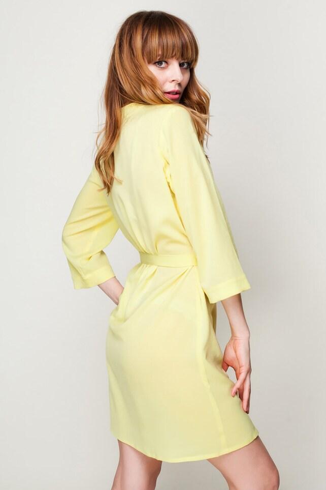 Lemon Yellow Kimono Dressing Gown / Yellow Bridesmaid & Brides | Etsy