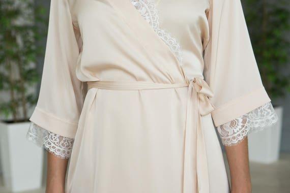 Elfenbein Satin Roben weiße Braut Spitze Bademantel Creme | Etsy