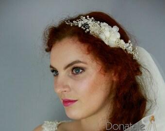 Ivory Flower  Wedding Hair Piece, Bridal headpiece, Pearl Wedding Headpiece ,Wedding headpiece, Bridal hair comb- ANGELINA
