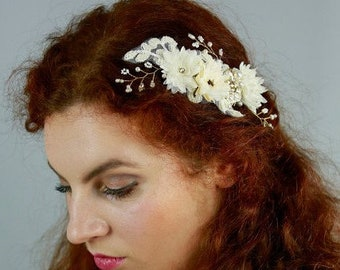 Gold Wedding hair comb, Wedding Hair Piece,  Bridal headpiece, Ivory Champagne  Bridal Hair Accessory, Bridal hair comb -SCARLETT