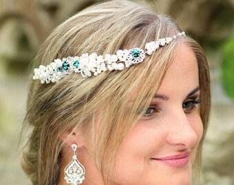 ON SALE Emerald Green  Boho Bridal Headpiece, Wedding Hairpiece ,Bridal Hair Vine, Hair crown,  Pearl  hair vine, Wedding headband - VANESSA