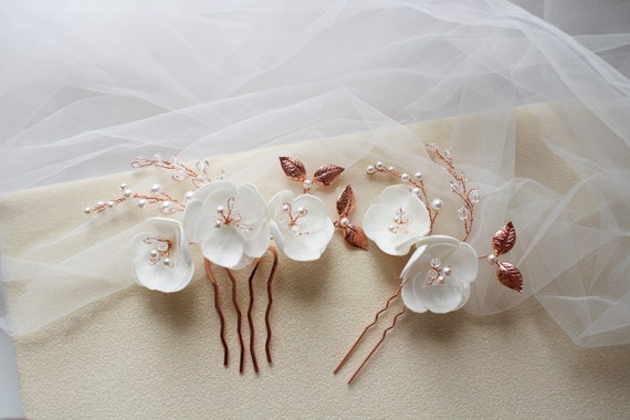 hair accessories bridal hair piece Bridal flower brooch hair piece rosegold leaf comb great Gatsby wedding comb