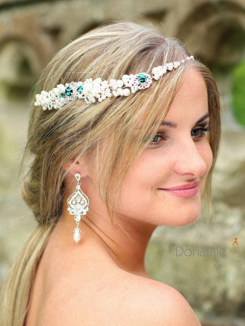 Bridal Hair comb VANESSA Bridal hair vine ON SALE  Emerald Green Hair comb Bridal Headpiece Wedding Hair Accessory Pearl hair vine