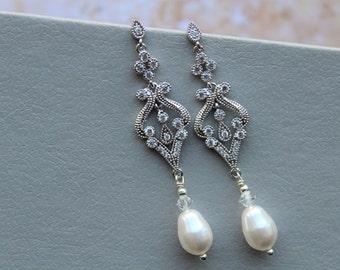 Bridal Earrings, Bridesmaid earrings, Art Deco Earrings, Pearl Drop Earrings, Wedding Jewelry ,Great Gatsby jewelry, Pearl Earrings, UK