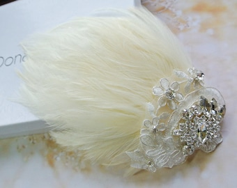 Wedding Hair Clip- Bridal  Fascinator- Wedding Fascinator -Feather Hair Clip - Ivory Cream  Hair Piece- 1920s Headpiece-STELLA