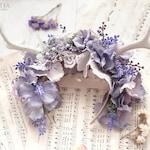 Headpiece with antlers | headband, boho, romantic, shabby chic | cruelty free | violet blue gray