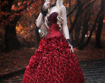 FLORAL SKIRT, Made to measure, made of roses, fantasy, cosplay, gothic, goth, flowers