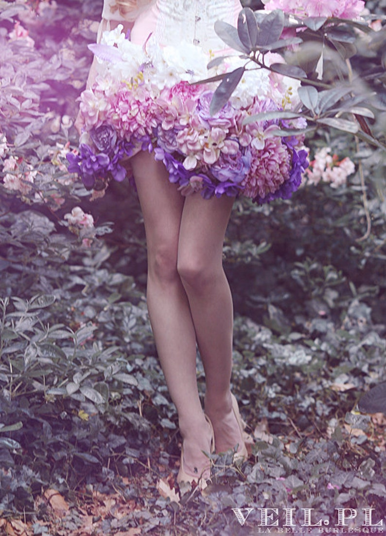 made of flowers mini pink /& purple fantasy spring romantic Floral skirt