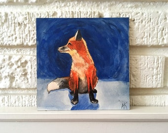 Fox Illustration 6x6 - Original Watercolor Painting On a Hardboard Panel