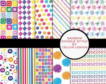 SALE Instant Download- Digital scrapbook Rainbow doodle pack 12x12 Bright colors Digital file only