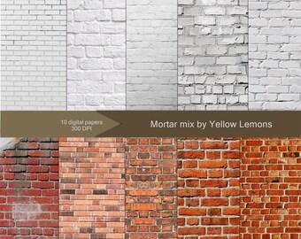 "Brick Texture Digital Paper ""BRICK AND MORTAR"" white brick, painted, grunge brick, background, texture, small, large, vintage brick"
