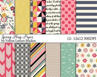 "Spring Digital Paper ""SPRING FLING"" modern, floral, fun colors, arrow, stripe, pink, red, grey, yellow, cream, black, teal, geometric, cute"