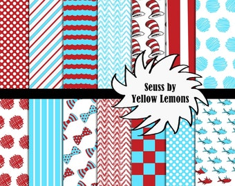 Digital scrapbooking paper (Dr Seuss cat in the hat inspired) 8.5x11 high quality paper -INSTANT DOWNLOAD