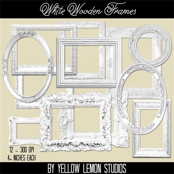 Vintage shabby style frames WHITE WOODEN white | Etsy