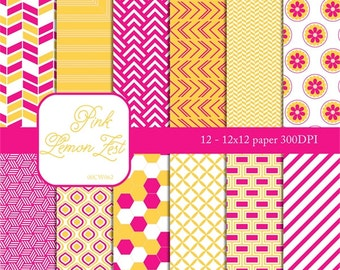 "Digital scrapbook paper ""LEMON ZEST"" pink, yellow, wedding trend, background, lemon, bright, chevron, flower, stripe, honey comb, white"