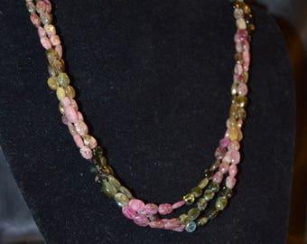 Watermelon tourmaline 3 strand necklace