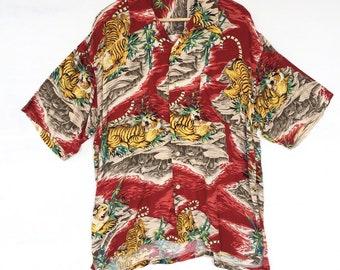 75c9390d8 Vintage Hawaiian Shirt Tiger Aloha Rayon Shirt Rare