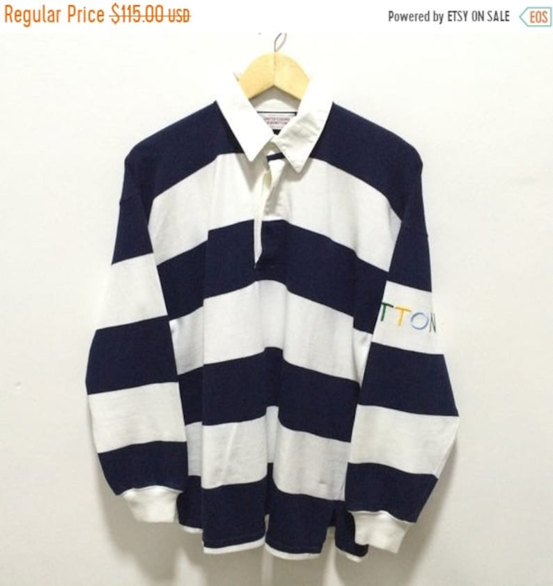MEGA SALE 30/% Benetton Rugby Shirt Vintage Benetton Spellout United Colors of Benetton Polo Rugby Shirt Rare