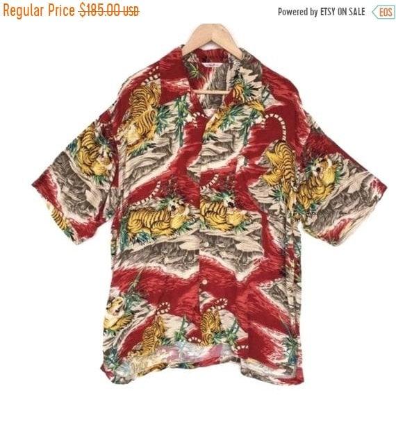 50% MEGA SALE Vintage Hawaiian Shirt Tiger Aloha R